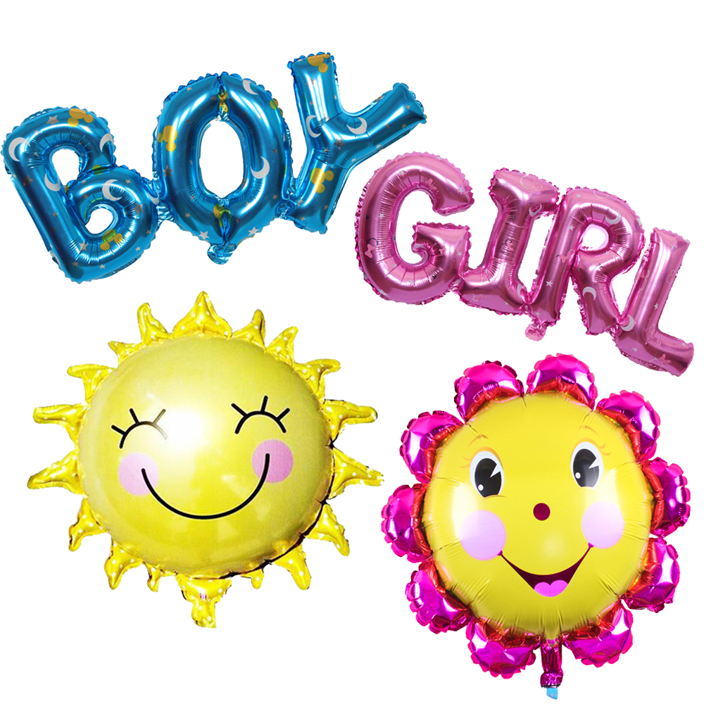 ΞNew1pc Letter Boy Girl Foil Balloons Happy Birthday Sun Fllower ...