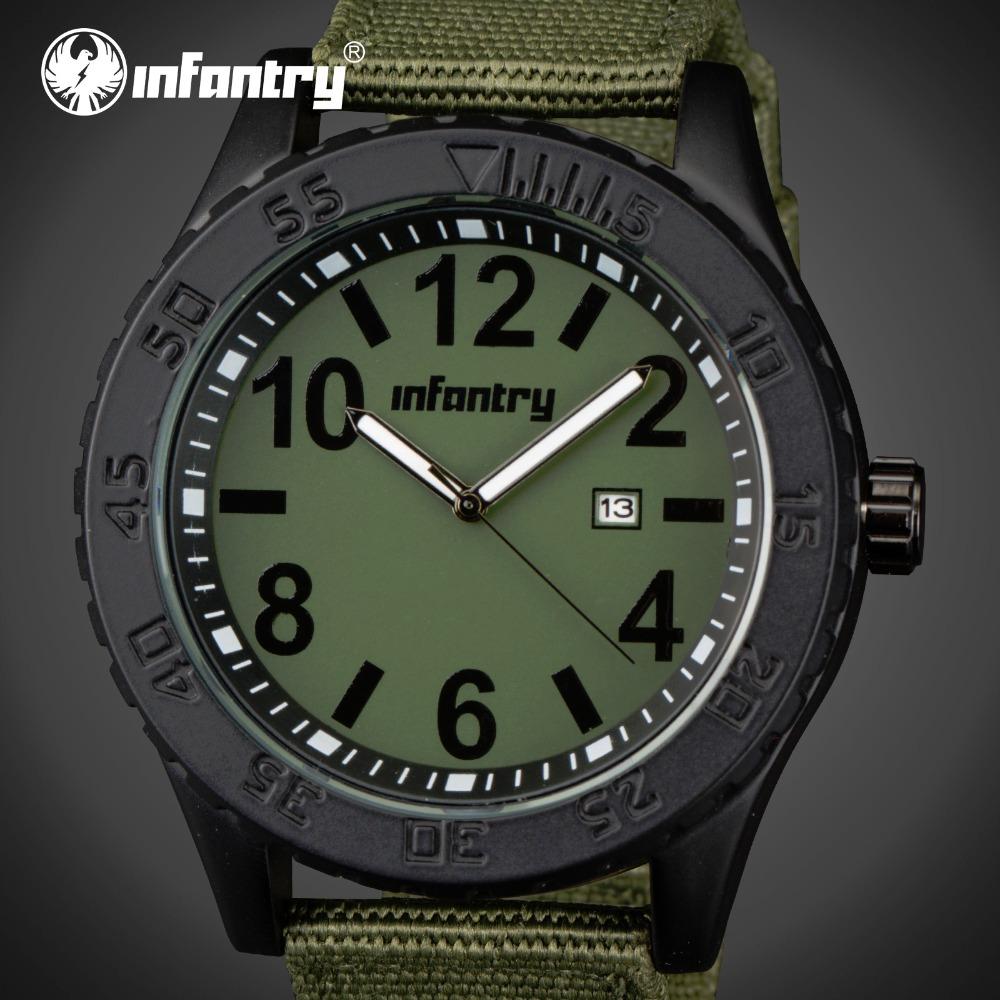 Prix pour Mens montres haut marque de luxe infantry montre à quartz hommes heure date horloge sangle en nylon mode casual armée militaire montre-bracelet