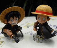 2Pcs Lot Anime One Piece Monkey D Luffy Q Version 2 Expressions Action Figure Toys Dolls