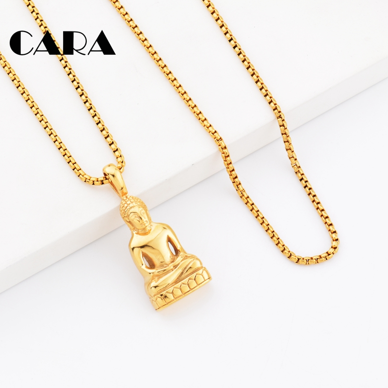 2019 new Buddha Pendant Necklace For Men Women necklace Charms Buddhism Jewelry 316L Stainless Steel Gold Color Chain CAGF0436 in Pendant Necklaces from Jewelry Accessories