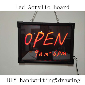12*16inch illuminated erasable neon DIY led message writing board open sign for shop bar cafe