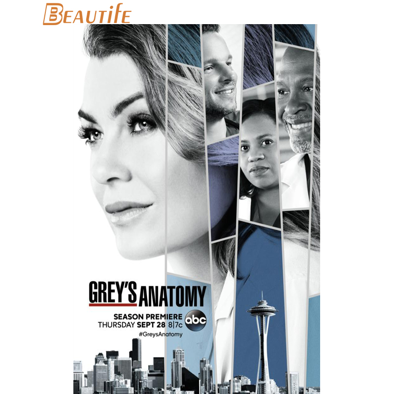 T511 Greys Anatomy TV Show Pop Art Deco Poster Wall Fabric