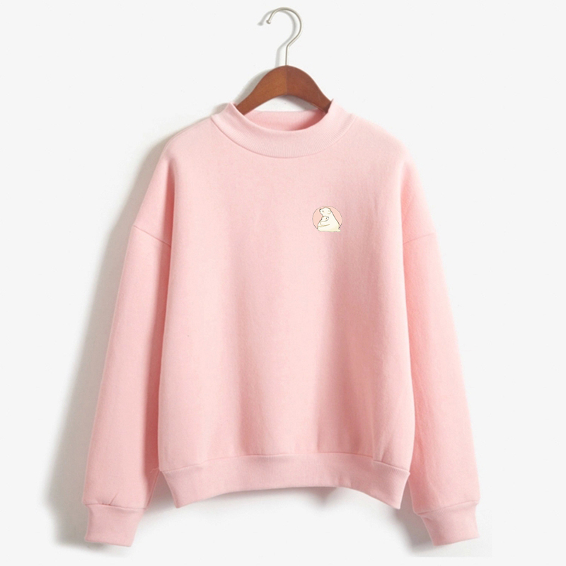 New Women Hoodies College Wind Autumn Winter Fleece Lovely Cute Printed Sweatshirt Girls Long-sleeve Turtle Neck Jumper