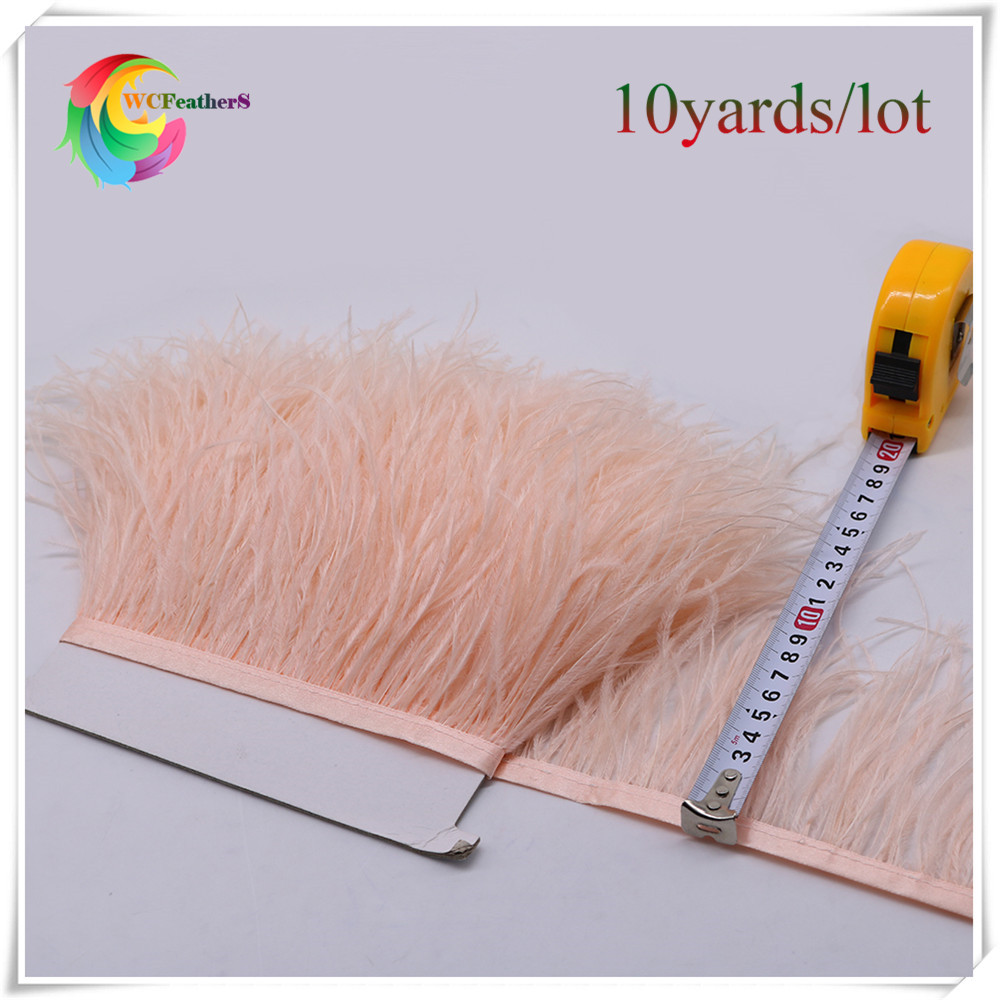 wholesale 10yards long dyed champagne real ostrich feather trims fringe with satin ribbon real ostrich feather