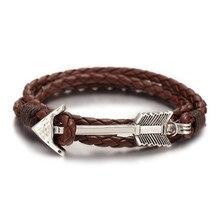 Men's Stylish Leather Rope Bracelet with Arrow Shaped Decoration