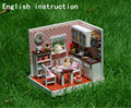 Toy kids Home 3D modelo de domicílios boneca miniaturas de bonecas de madeira móveis , levou Kit presente da música luz casa de bonecas FPP