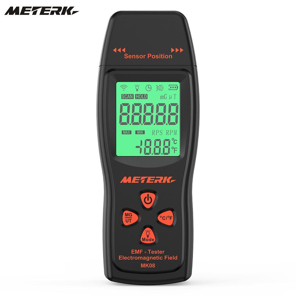 Meterk EMF Meter Handheld Mini Digital LCD EMF Detector Electromagnetic Field Tester Dosimeter Tester Counter digital emf tester electromagnetic field radiation detector meter dosimeter tester counter lcd data hold and max measurement