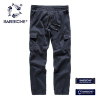 Rarebone Mens 100 Cotton Classic Lastic Leg Opening Elastic Waist Multiple Pockets Men Pants L 4X