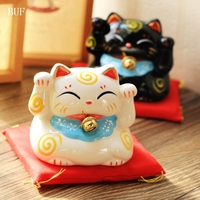 BUF Japanese Style Lucky Cat Piggy Box Ornament Modern Home Decoration Lucky Cat Cash Coin Saving