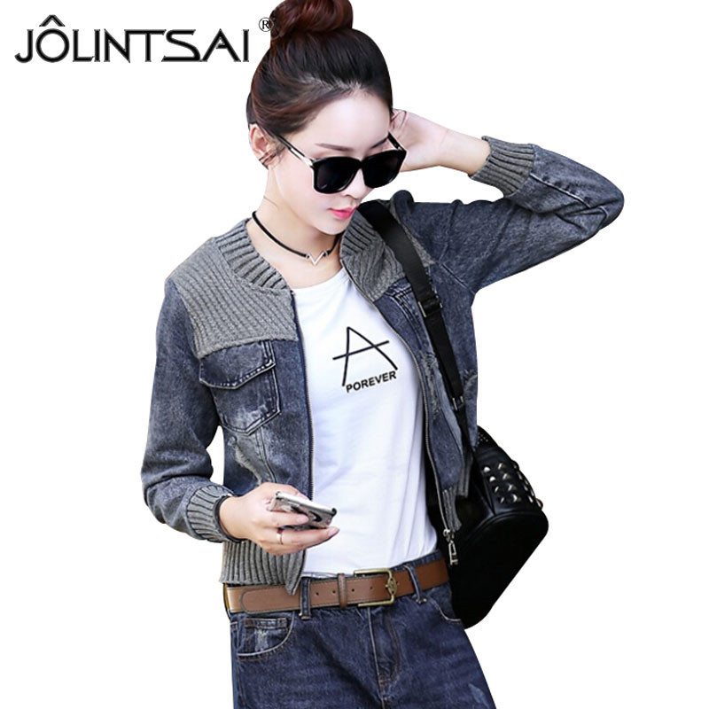 Vintage Fashion Knitted Patchwork Frayed Hole Denim Jacket Casual Ripped <font><b>Jeans</b></font> Long <font><b>Sleeve</b></font> Coat Female Outerwear 2017 Hot New
