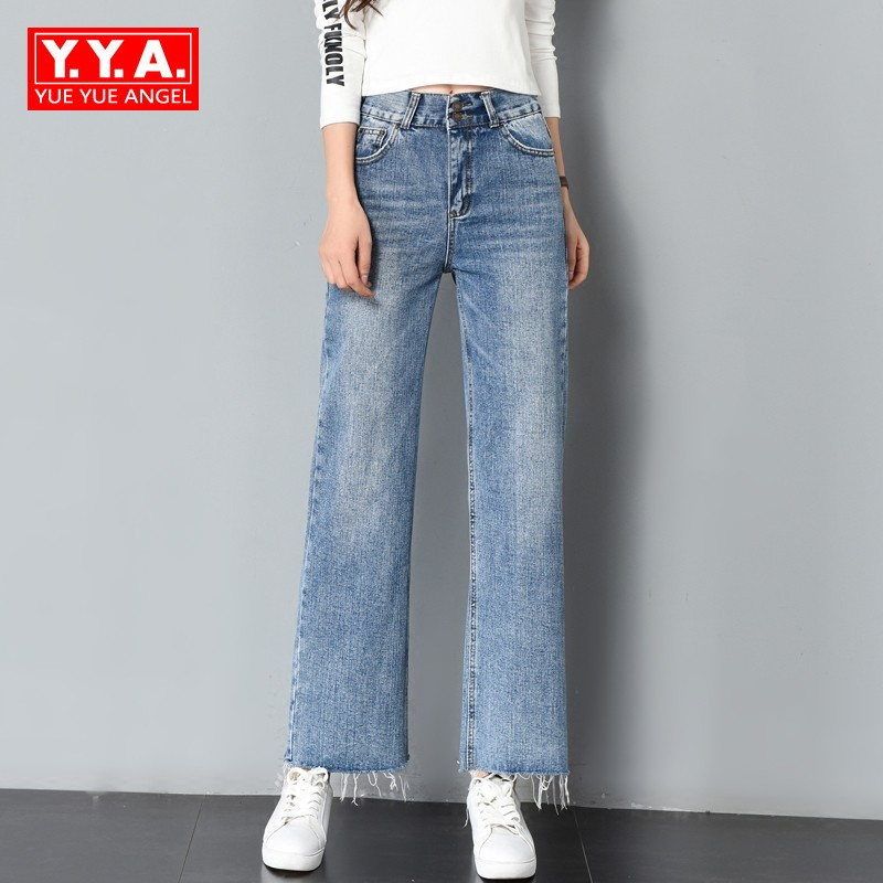 Boyfriend Jeans For Women Loose Fit Straight Casual All Match Pants High Waist Jeans Tassels Baggy Female Trousers Large Size