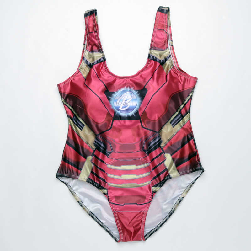 1e9390ac9b5 ... Clearance Sale Iron Man Superman Print One Piece Swimsuit Women Sexy  Bathing Suit Summer Swimwear Joke ...
