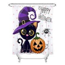Halloween Pumpkins Shower Curtain Set Cartoon Cat Magic Hat Dots Bathroom Party Decor Bath Hooks Include