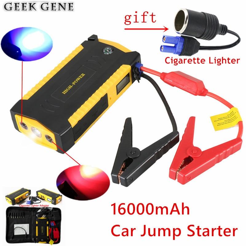 Chargeur de voiture Portable 16000 mAh pour batterie de voiture multifonction 12 V 600A dispositif de démarrage automatique briquet démarreur de voiture Mini boussole LED