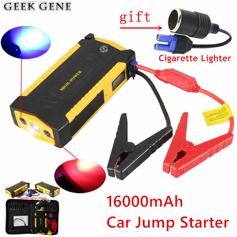 Portable 16000mAh Car Charger For Car Battery Multi-function 12V 600A Auto Starting Device Lighter Car Starter Mini Compass LED