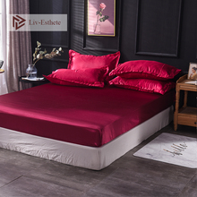 Liv-Esthete Wholesale Luxury 100% Satin Silk Wine Red Fitted Sheet Silky Mattress Cover Queen King Bed Sheets For Women Men 1pcs