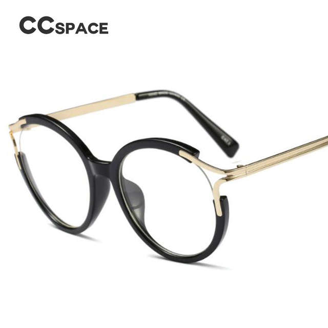 696e0e328c52d placeholder CCSPACE Lady Metal Hollow Round Glasses Frames For Women Cat  Eye Brand Designer Optical EyeGlasses Fashion