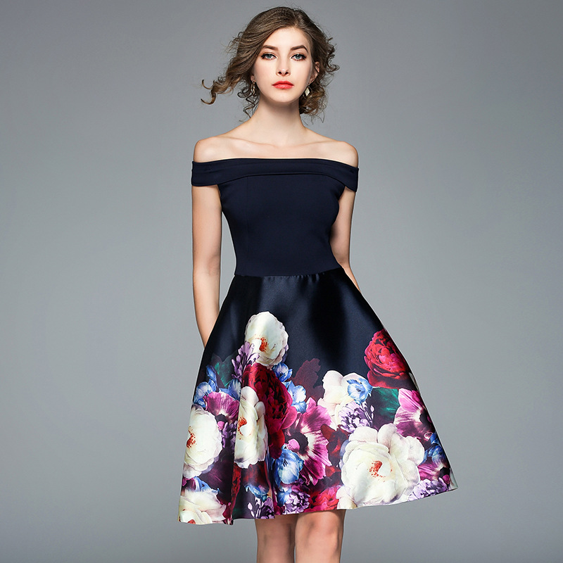 Elegante Midi Stampa Molla Abiti Femmina Party Sexy Vestito Club Neck Line 2018 Floral Blu Nuove Dress Della Donne A Slash gx5wv7qz