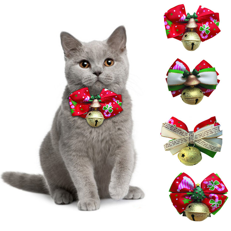 Products For Cats Bow Ties Christmas Collar New Year Necktie With Frosted Bell Clover Cat Accessories