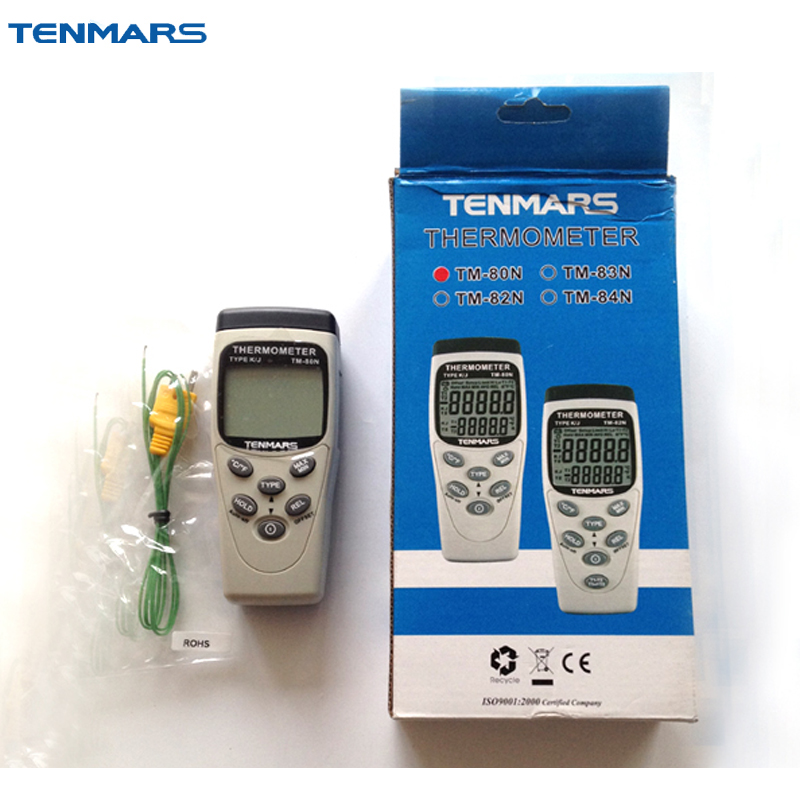 TENMARS TM-80N Handheld Digital K/J Type Industrial Thermometer k j type single channel thermometer temperature meter tester gauge tm 80n