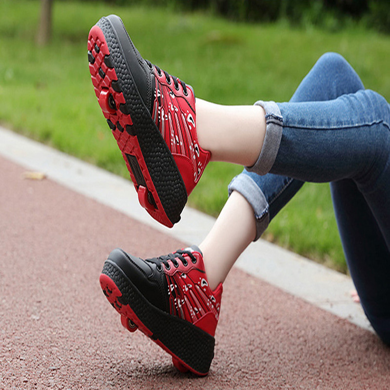 New Children Roller Skate Shoes Boys Girls Automatic Jazzy Flashing Heelies Sport Kids Sneakers With One/Two Wheels Zapatillas