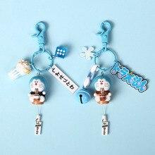 Creative Cute Cartoon Doraemon Keychain PVC Jewelry Anime Key chain Ring Girls Bag Ornaments Accessories Gift
