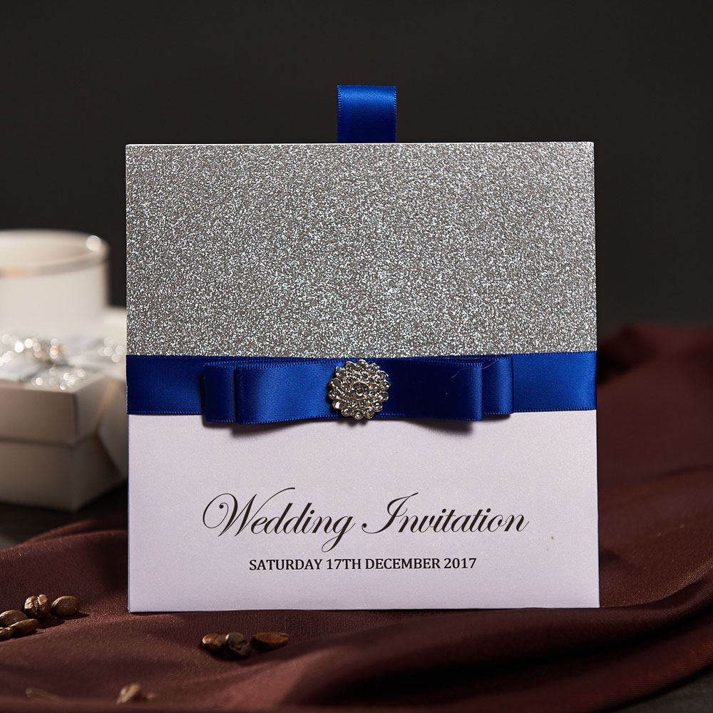 Traditional Pocket Wedding Invitations With Rsvp Card Custom Blue Ribbon Birthday Marriage Enement Baby Shower Party