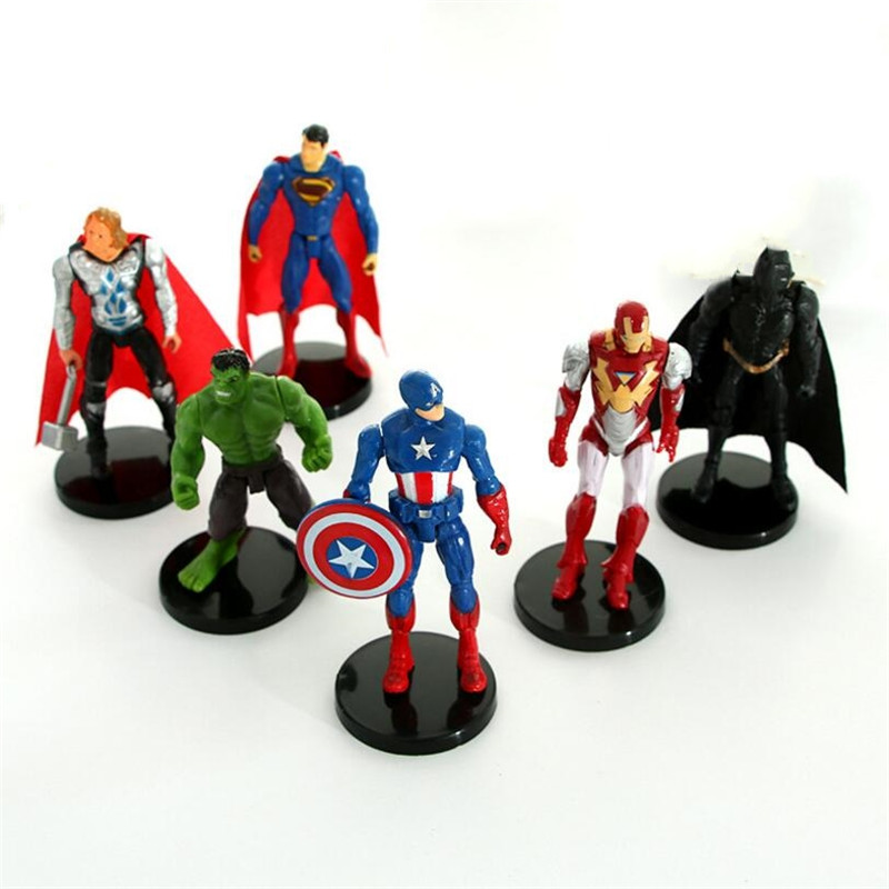6Pcs /lot New 10cm Avengers 3 Action Figures Model Super Hero Figure Spiderman Captain America Hulk iron Man Black Panther
