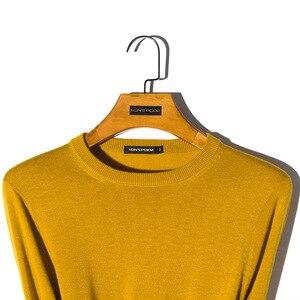 Image 3 - Мужской шерстяной Однотонный свитер с круглым вырезом, облегающий вязаный пуловер, Новинка осени 2019, 8 цветов, модная повседневная брендовая одежда