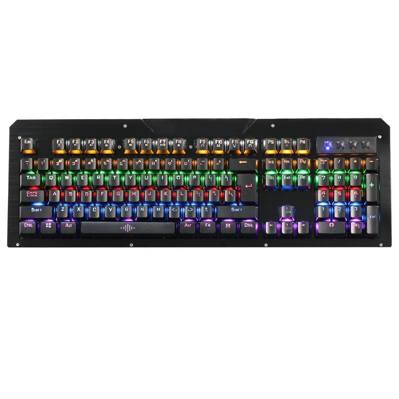 все цены на New 104 Keys RGB Backlight Waterproof Wired Mechanical Gaming Keyboard USB Computer Kerborad with Wrist Pad for Windows 2000/XP онлайн