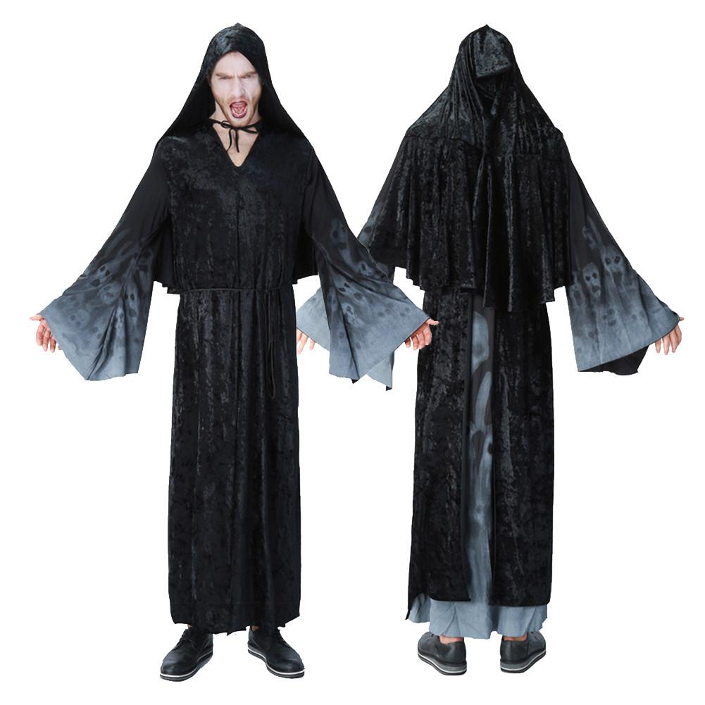 Halloween Wizards Clothes Black Night Ghosts Clothing Halloween Ghosts Cosplay Costumes For Men Women