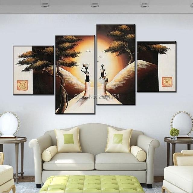 Peint à la main couleur chaude groupe peintures à l\'huile sur toile ...
