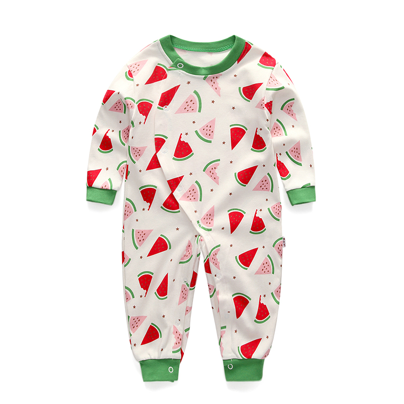 Maggies Walker Baby boys and girls clothes Spring Summer long sleeve cotton Rompers onepiece Newborns Printed jumpsuit