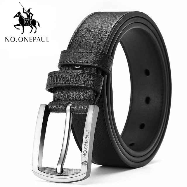 NO.ONEPAUL buckle men belt High Quality cow genuine leather luxury strap male belts for men new fashion classice vintage pin - Цвет: Z1111 black