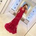 Longo Vestido De Renda Sereia Vestido De Noite Vermelho Rendas Ver através Sexy Mulheres Borgonha Prom 2016 Até O Chão Formal vestido