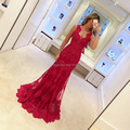 Vestido Longo De Renda Mermaid Evening Dress Red Lace See Through Sexy Women Burgundy Prom Dresses 2016 Floor Length Formal Gown