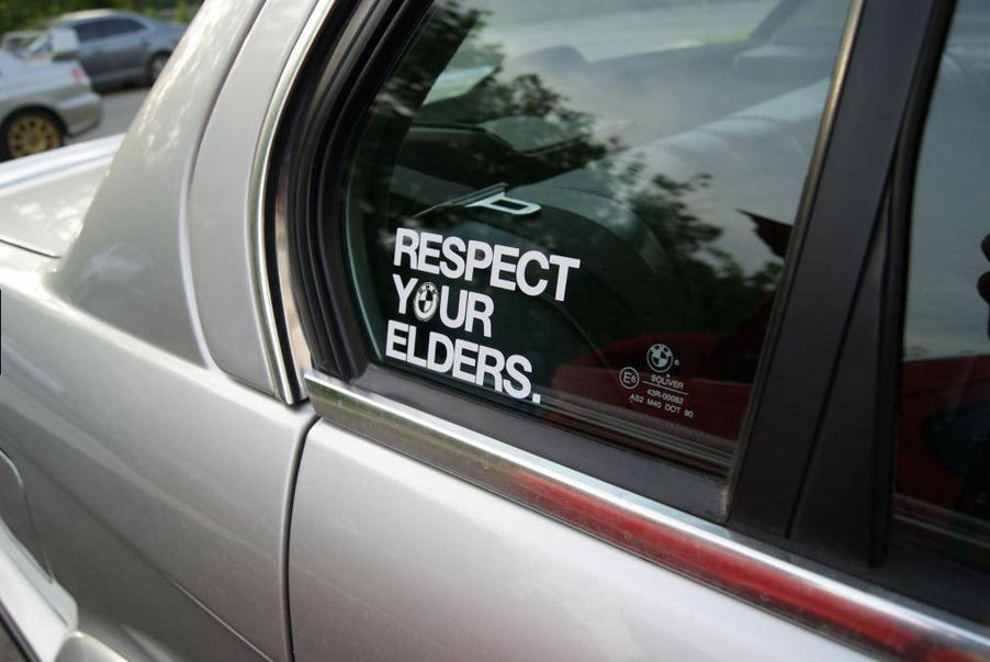 2pcs RESPECT YOUR ELDERS Car Window Decal Sticker Euro Style Word Stickers Car Sticker Vinyl 5.5