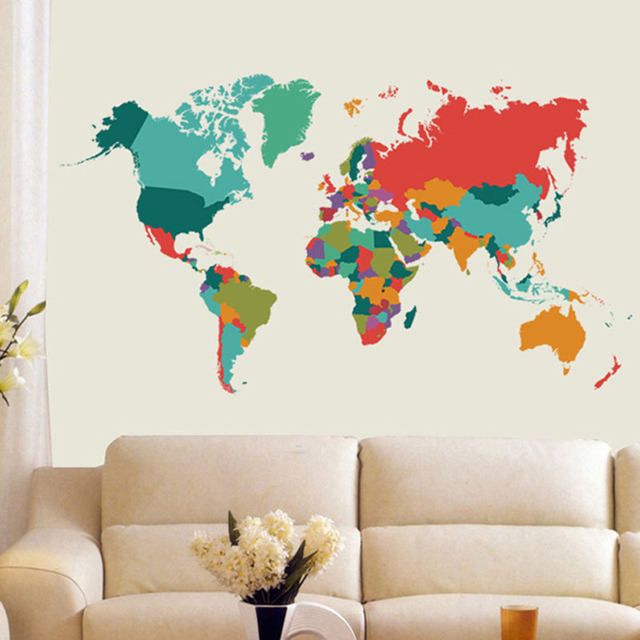 Color World Map Wall Sticker Living Room Bedroom Home Decor Pvc Import Large Size Self Adhesive Mural Naklejki