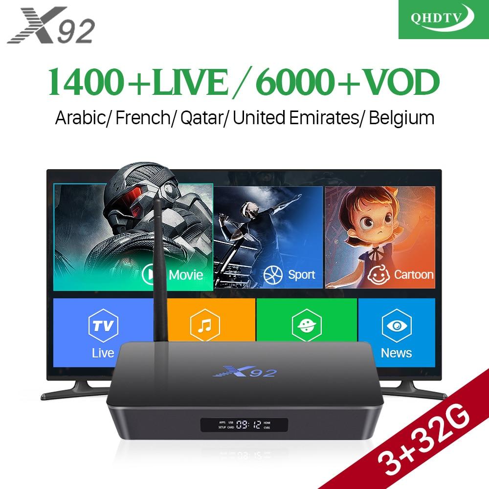 X92 IPTV Ricevitore TV Araba Con QHDTV Abbonamento IPTV 1 Anno IPTV Arabo Francia Belgio Paesi Bassi Tunisia Algeria
