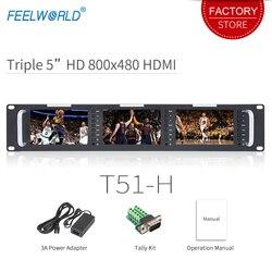 Feelworld T51-H Triple 5 inch 2RU Leightweight HDMI Broadcast Monitor LCD TFT 800x400 HDMI AV Rack Mount Monitor for Broadcastin