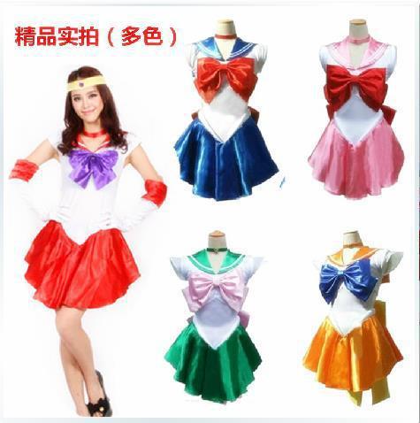 2016 New Arrival Ladies Sexy Sailor Moon Costume Cartoon Movie Cosplay Girl Mercury Moon Mars Dress Wholesale Halloween Costume