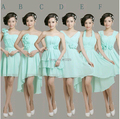 2017 New  Blue Chiffon Short Bridesmaid Dress with flower style A-F Bridesmaid Gown