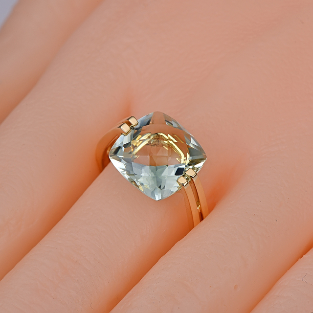 Caimao Jewelry 5.98ct Natural Square Cushion Green Amethyst 14k Gold Ring Free Shipping