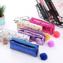 Laser Shining Pencil Bag Fashion Glitter Cosmetic With Cute Plush Ball Case Bags Handbags Kawaii School Office Supply