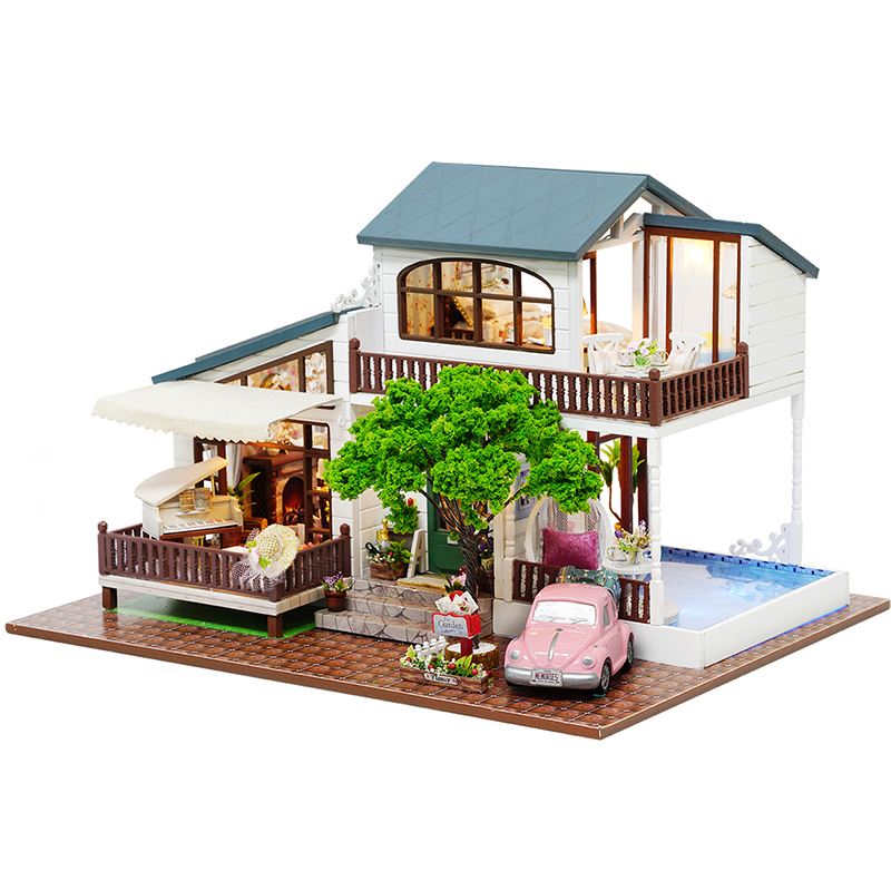 DIY Doll House Trä Doll House Miniatyr Dollhouse Möbel Kit Leksaker för barn Present Julhus A039