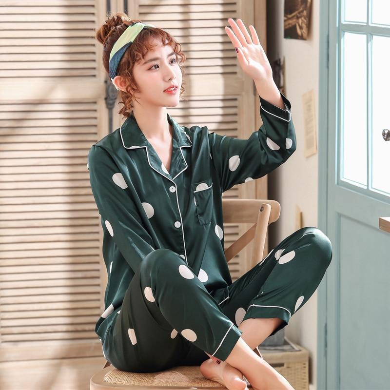 JULY'S SONG Women 2 Piece Faux Silk Satin   Pajamas     Set   Long Sleeve Sleepwear   Pajamas   Polka Dot Suit Printed Sleepwear