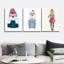 Cartoon Dogs Abstract Wall Pictures Poster Print Canvas Painting Calligraphy Decor for Living Room Bedroom Home Frameless