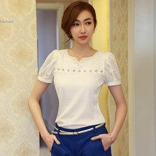 New women blouses Girl's Elegant V Neck Chiffon blouse Shirt Hollow Short Sleeve plus size Casual Blouse clothing SV22