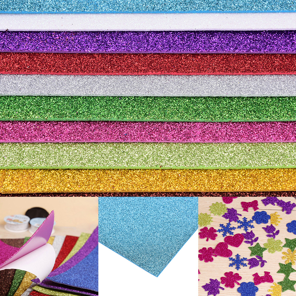 Papel de scrapbooking, papel de flash de papel esponja de borracha com papel de espuma de eva para decoração diy de artesanato, papel de scrapbooking, decoração colorida de borracha com 10 peças