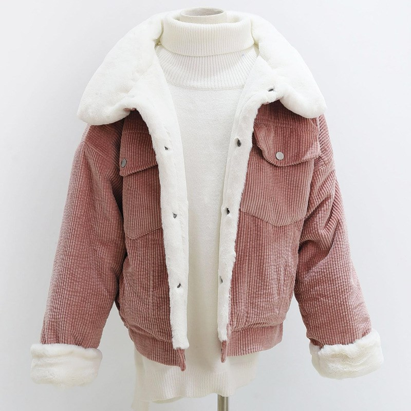 Big Discount Winter Women Corduroy   Basic     Jacket   Long Sleeve Lambswool Bomber   Jacket   Casual Single Breasted Denim   Jacket